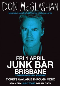DON McGLASHAN (NZ) presented by The Rock n roll Writer's Festival. at The Junk Bar
